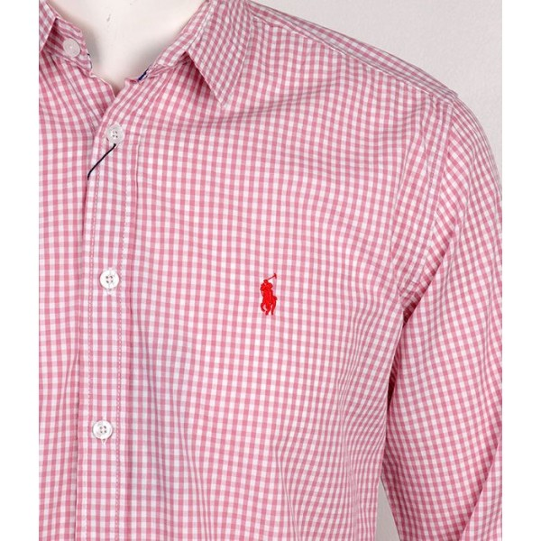 PRL Small Pony Long Sleeve checkered Shirt   Pink White