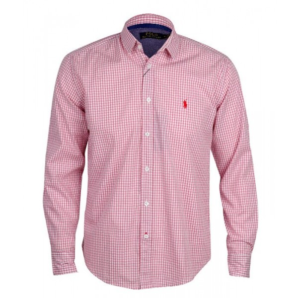 PRL Small Pony Long Sleeve checkered Shirt | Pink ...
