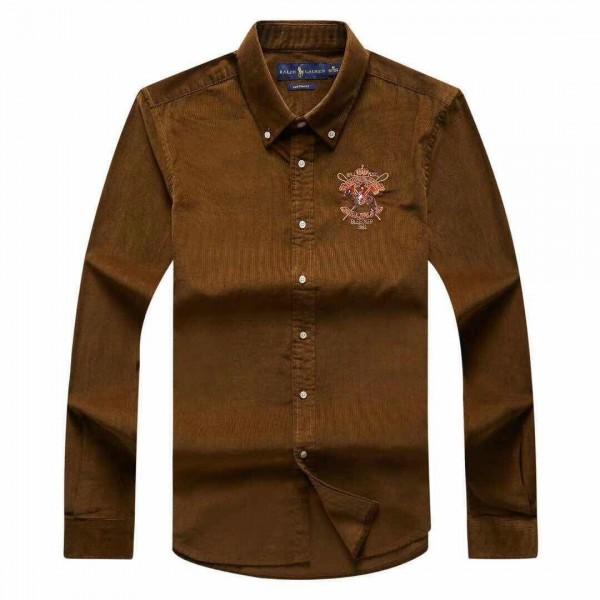 PRL Bleecker 381 Crested Logo Shirt | Mocha Brown