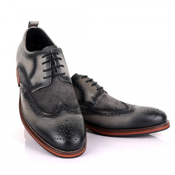 Billionaire Oxford suede crested Leather Shoe | Grey