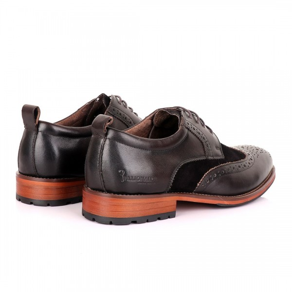 Billionaire Oxford suede crested Leather Shoe   Coffee brown