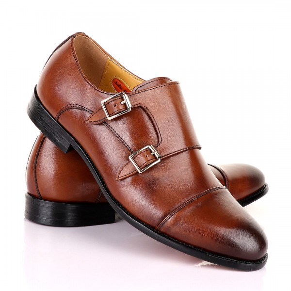 John Mendson Double Monk Strap Leather Shoe | Brow...