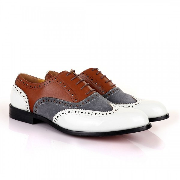 John Mendson Oxford Lace Up Shoes | White Grey and...