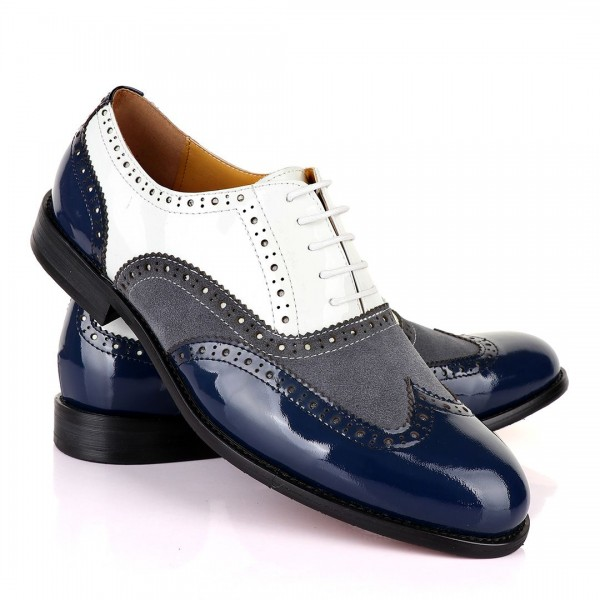 John Mendson Oxford Lace up Wet Lips and Suede Shoe | Blue White And Grey