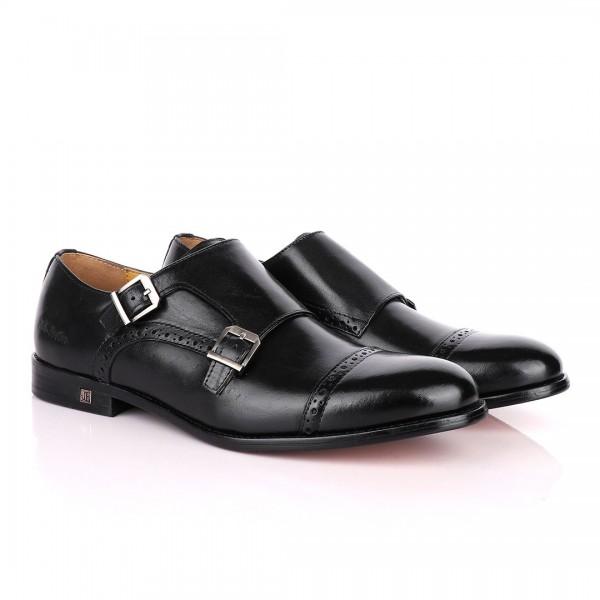 John Foster Double Monk Strap Leather Shoe | Black