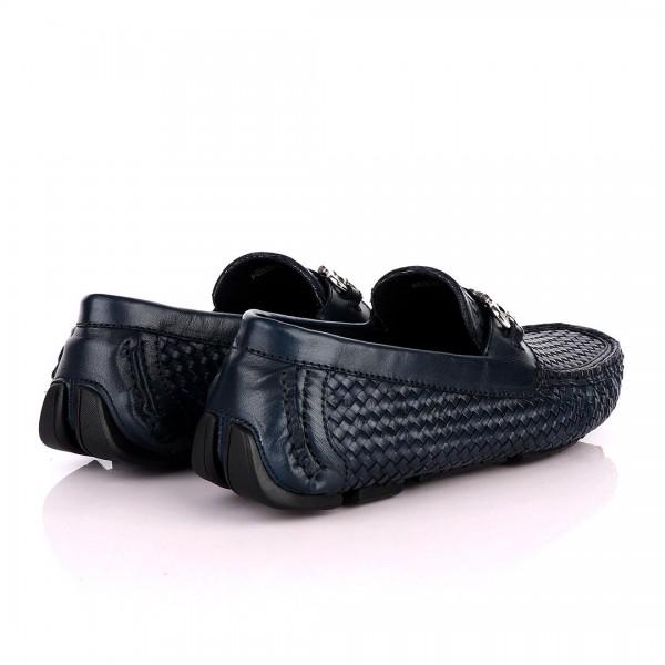 Salvatore Ferragamo Woven Leather Driver | NavyBlue