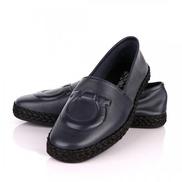 Salvatore Ferragamo Leather Loafers   Navy Blue