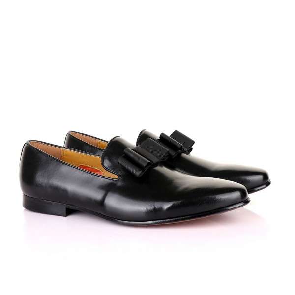 John Mendson Leather With Bow Loafers | Black