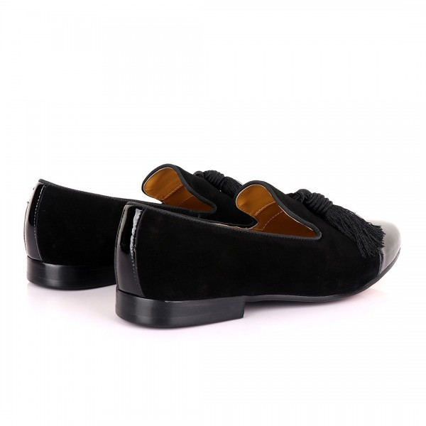 John Foster Half Wetlips And Suede Loafer | Black