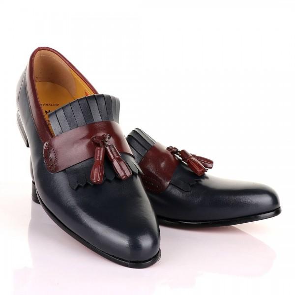 John Mendson Blue and Brown tassel Shoe | Black