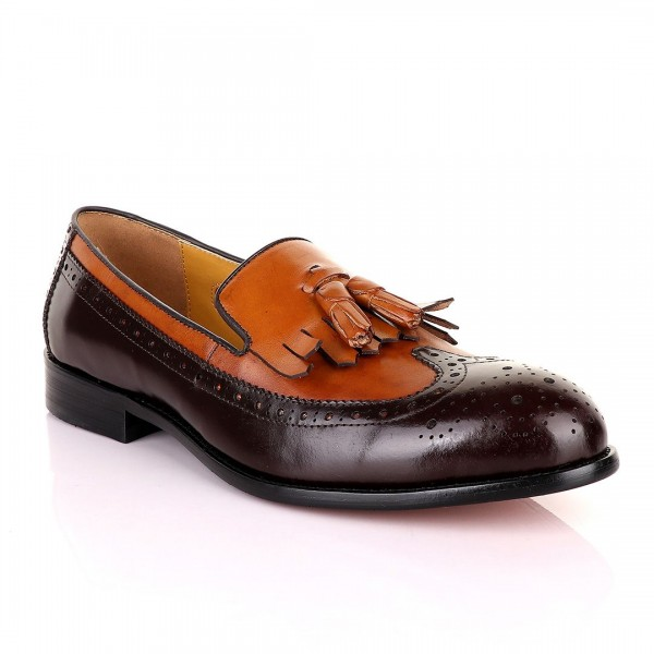 John Mendson Lace brogues Leather Tassel Loafers   Brown