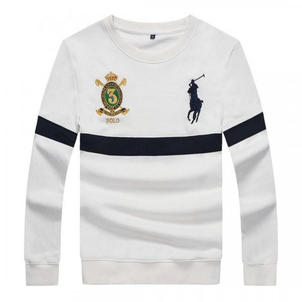 PRL Long Sleeves Embroidered Stripe Logo White Swe...