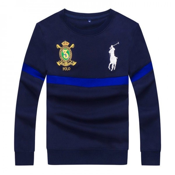 PRL Embroidered Stripe Logo Blue Sweat Shirt