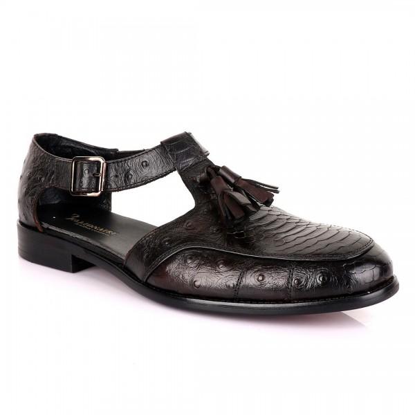Billionaire with Tassel Cover Leather Sandal | Black