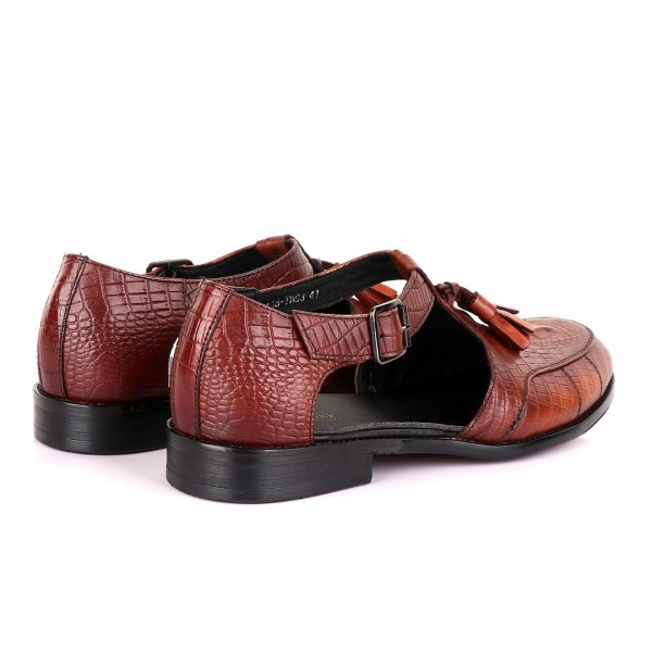 Billionaire with Tassel Cover Leather Sandal   Brown