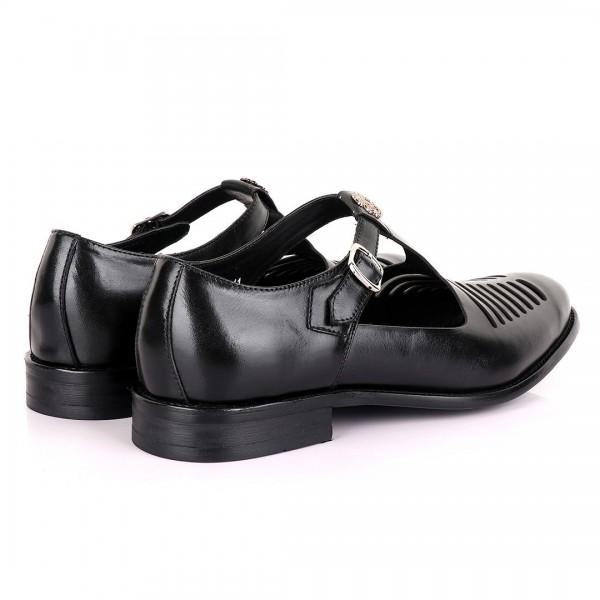 Billionaire with Open Pattern Leather Sandal | Black