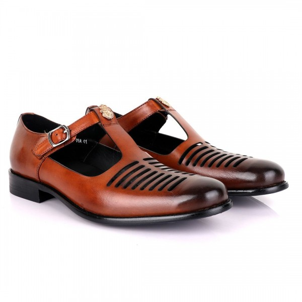 Billionaire with Open Pattern Leather Sandal | Bro...