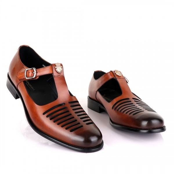 Billionaire with Open Pattern Leather Sandal   Brown