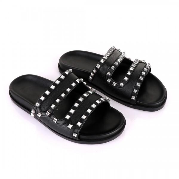 Valentino Rockstud Slippers   Black