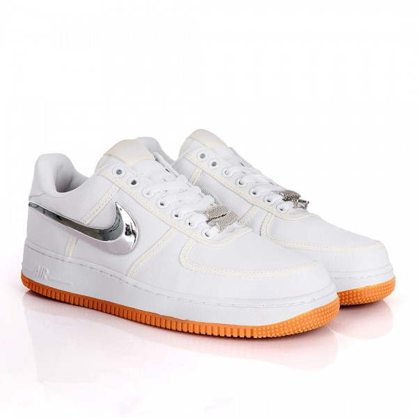 NK AF-1 Detachable Silver Logo White Sneakers With...