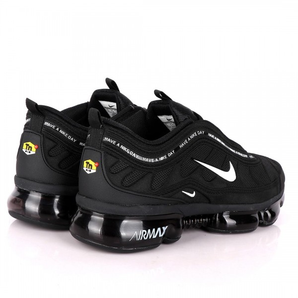 NK Max Black Sneakers With Tuned Pressure Sole And White Logo Design