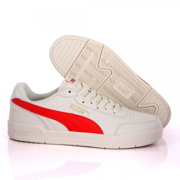 Puma Optimal Comfort Off-White And Red Leather Sneakers