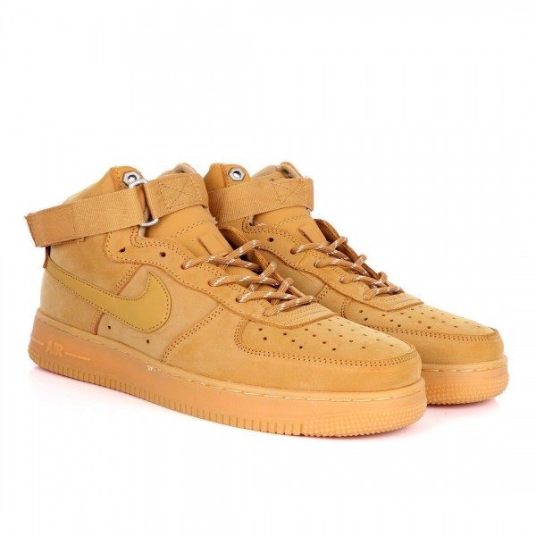 NK Force 1 High Wheat-Gum Light Brown Sneakers