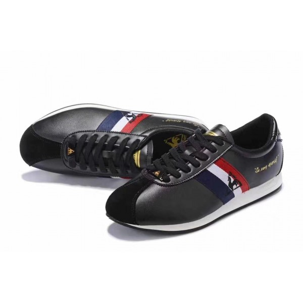 Le Coq Sportif Blue and Red Striped Sneakers | bla...