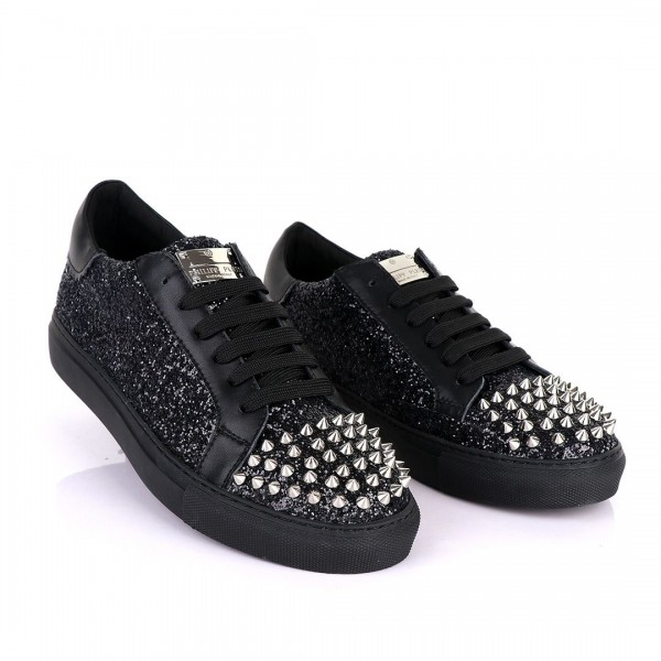 Philipp Plein Spikes and Studded Sneakers | Black