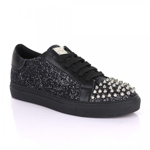 Philipp Plein Spikes and Studded Sneakers   Black