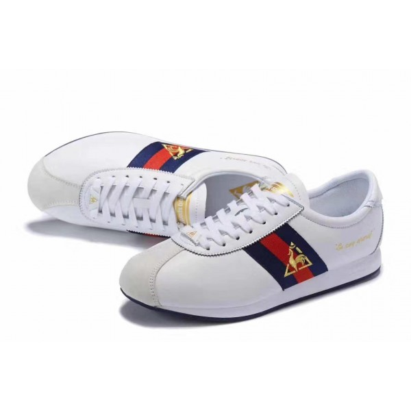 Le Coq Sportif blue and Red Striped Sneakers | White