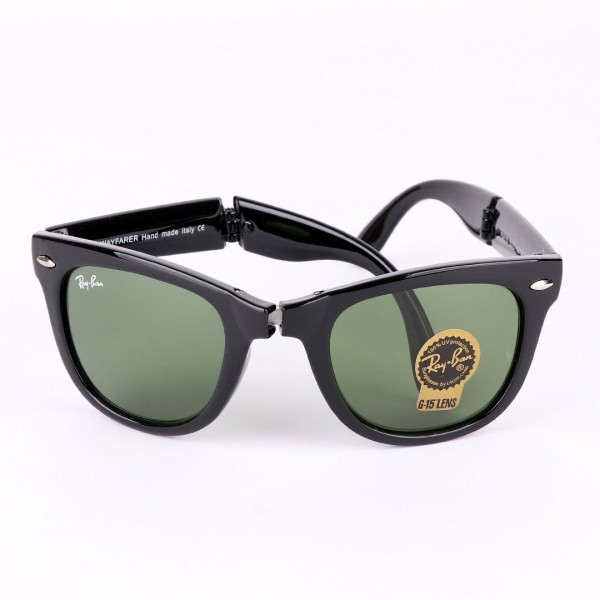 Ray-Ban Foldable Wayfarer Black And Green Lens Sun...