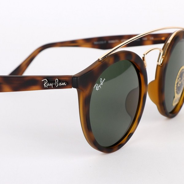 Ray-Ban Round Frame And Gold Metal Animal Skin Sunglasses