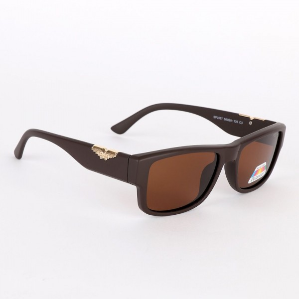 Police Polarized Gold Metal Brown Sunglasses