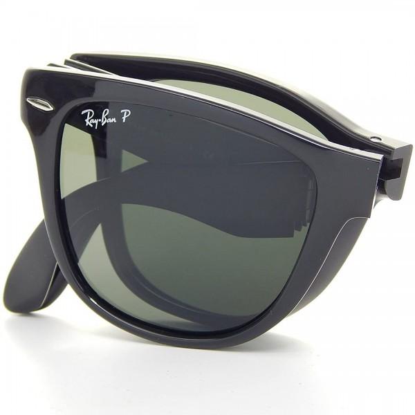 Ray-Ban Foldable Wayfarer Black And Green Lens Sunglasses