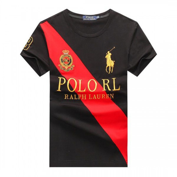PRL Crested Textured T Shirt Black Red