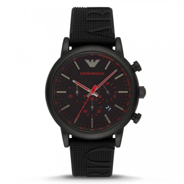 Armani Red Dial Rubber Watch | Black