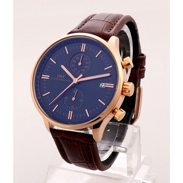 IWC Rose Gold Leather Watch | Brown
