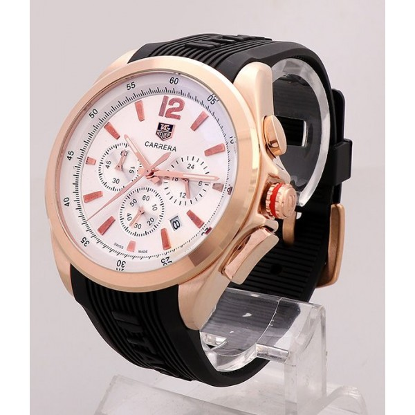 Tag Heuer White Dial Rubber Watch   Black